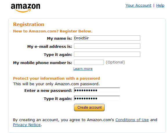 สมัครสมาชิก Amazon.com